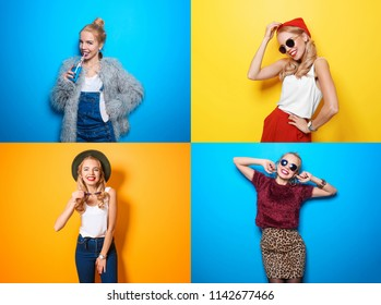 Collage with hipster girl on color background. Beauty and fashion