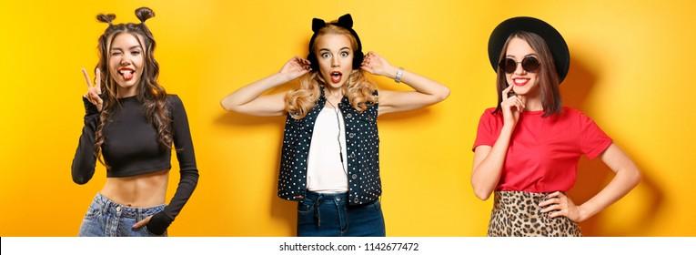 Collage with hipster girls on color background. Beauty and fashion