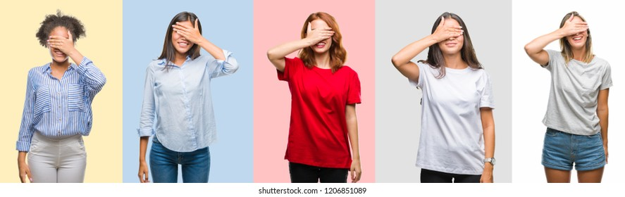 Collage of hispanic, african american, asian, indian women over vintage color background smiling and laughing with hand on face covering eyes for surprise. Blind concept.