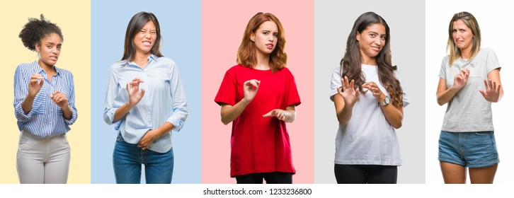 Collage of hispanic, african american, asian, indian women over vintage color background disgusted expression, displeased and fearful doing disgust face because aversion reaction. With hands raised