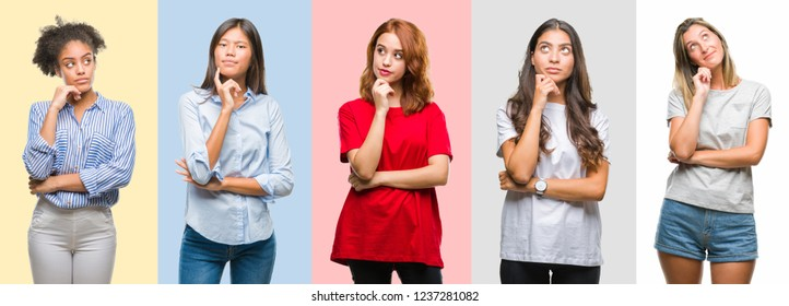 Collage of hispanic, african american, asian, indian women over vintage color background with hand on chin thinking about question, pensive expression. Smiling with thoughtful face. Doubt concept.