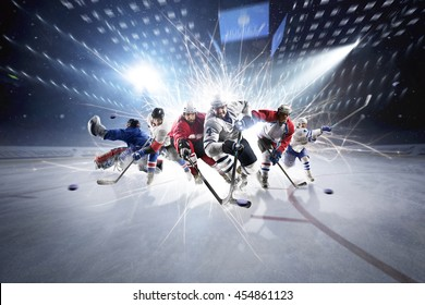 collage from hockey players in action