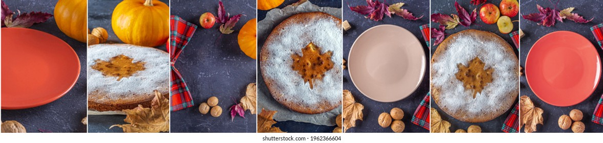 Collage of Homemade apple pie, cobbler, charlotte with walnut and cinnamon. Thanksgiving dish serving with checkered napkin. Autumn harvest festival.