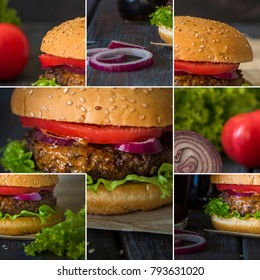 Collage with homemade burger on a dark wooden background.