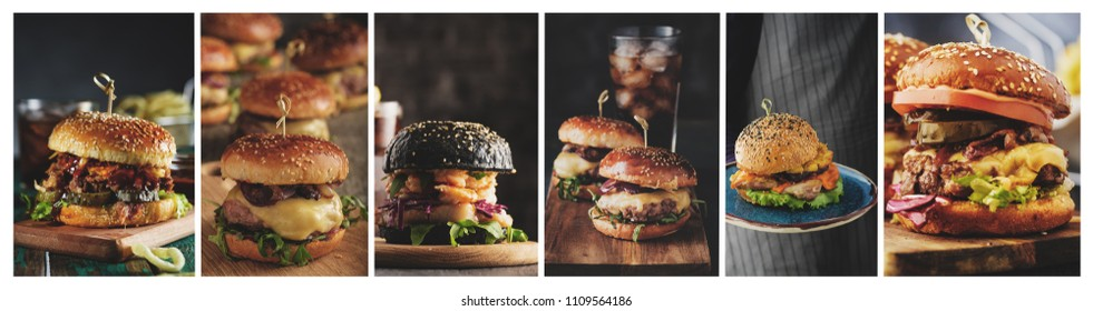 A collage of Homemade burgers in a rustic style. Fish burger, cheeseburger, pulled burger and burger with pineapple.