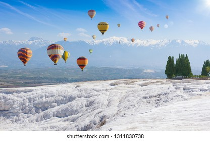 "Collage with hot air ballons flying above snowy white Pamukkale in Turkey. Pamukkale is geological phenomenon, literally ""Cotton Castle"" in Turkish, most visited attraction in Turkey."