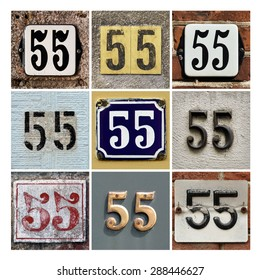 Collage of House Numbers Fifty-five