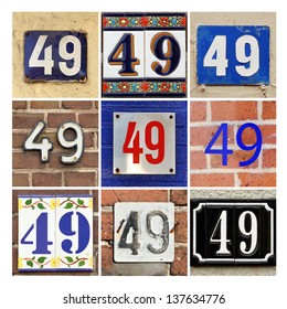 Collage of House Numbers Forty-nine