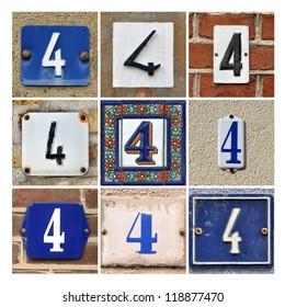 Collage of house numbers Four