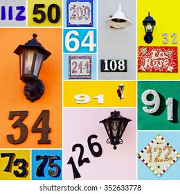 Collage with House numbers on colorful House walls