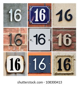 Collage of House Numbers Sixteen