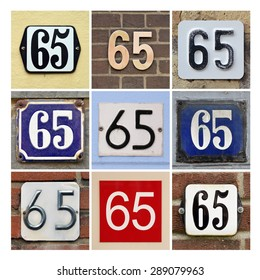 Collage of House Numbers Sixty-five