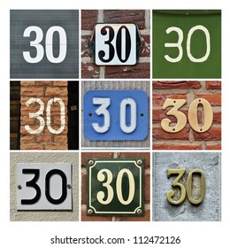 Collage of House Numbers Thirty