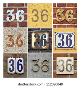 Collage of House Numbers Thirty-six