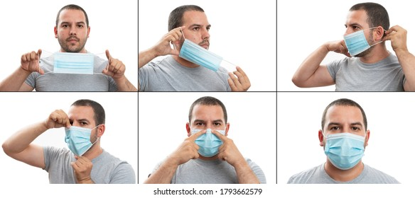 Collage how to wear surgical or medical protective mask covering face and nose tutorial by adult man isolated on white studio background