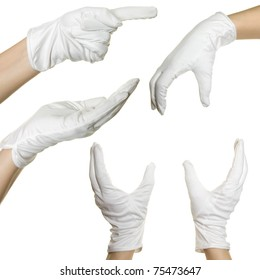 Collage from human hands in white textile glove. Isolated over white