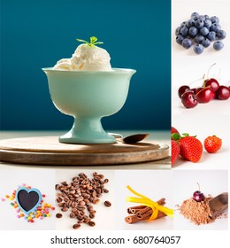 Collage of ice cream, berries, spices, coffee beans and candies