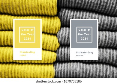Collage with Illuminating and Ultimate gray Pantone color of the year 2021