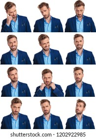 collage image of 12 images of the same elegant man on white background