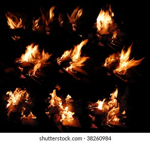 Collage image if flames against black