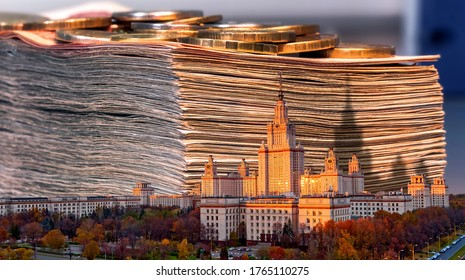 Collage image of main building of old university and pile of money as concept of price of knowledge