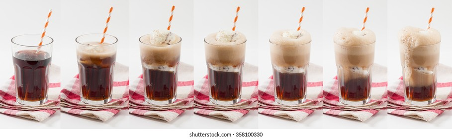 Collage image of Root beer with vanilla ice cream