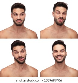 Collage image of a young naked man in different emotional state, displeased, goofy, fooling around, laughing