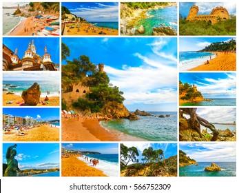 The collage of images about Lloret de mar, Spain