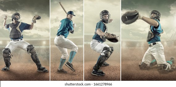 Collage of images. Baseball player in dynamic action on stadium. Professional sport athlete in uniform.