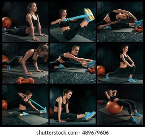 The collage from images of beautiful slim brunette doing some gymnastics at the gym