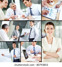Collage of images with business people at work