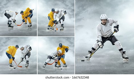 Collage of images with Caucassian ice hockey Players in dynamic action in professional sport game play under stadium lights.
