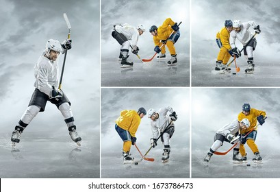 Collage of images with Caucassian ice hockey Players in dynamic action in a professional sport game play outdoor in sunny winter day.