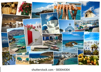 Collage of images from famous location in the cyclades, Greece on white background