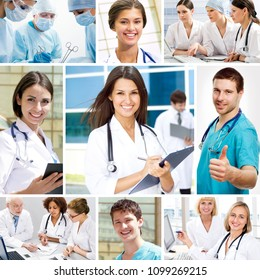 Collage of images on a medical and healthcare theme.