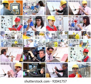 Collage of images with people from different professions at work. People at work. Professional Occupation. Working People.