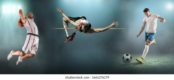 Collage of images shooting. Sports athletes from basketball, soccer, football and high jumps in dynamic action.