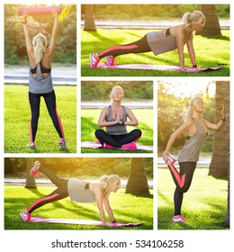 Collage with images of sport woman doing exercises on green grass at the park