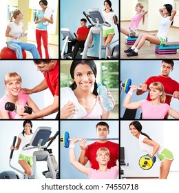Collage of images young people exercising in gym