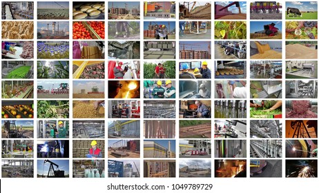 Collage industrial production. People working in a food industry, construction, agriculture, steel mill, foundry, power plant,  bakery, metal industry, blacksmith shop, sugar factory