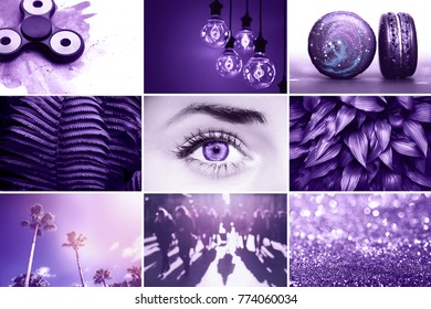 Collage inspired by color of the year 2018 - Ultra Violet.