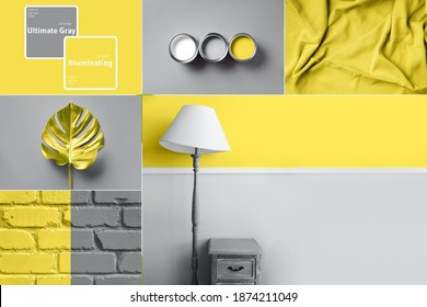Collage inspired by trendy colors of year 2021. Illuminating yellow and ultimate gray concept. Style design combination. Duotone. Color Psychology. Minimalistic interior. Depression treatment.