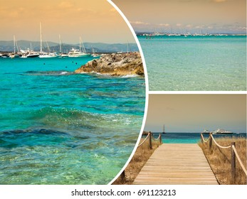 Collage of island Formentera, Spain