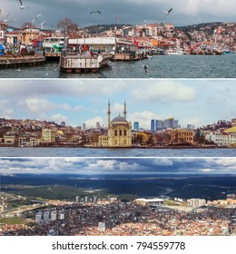 Collage of Istanbul panoramic views, architecture and nature of Turkey.