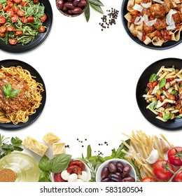 Collage of Italian meals and ingredients.  Italian food background, with copy space.