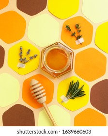 Collage - a jar of honey in the shape of a hexagon and a honeycomb, cut out of colored paper, with melliferous herbs and a spoon for honey. Bright colors. Vertical format, social-media-ready.