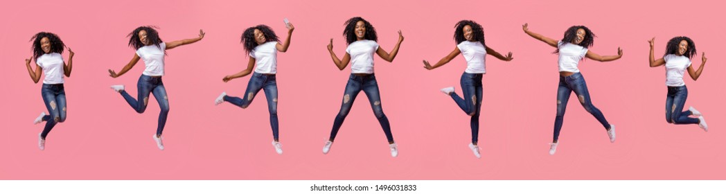 Collage of jumping curly black girl in air on pink background, panorama