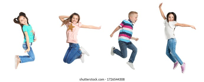 Collage of jumping schoolchildren on white background. Banner design