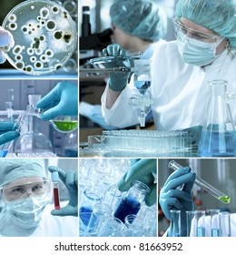 Collage from laboratory related images