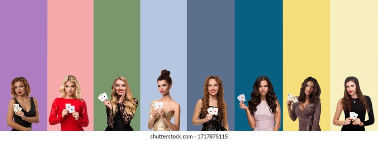 Collage of ladies with make-up and hairstyles, in dresses and jewelry. They smiling and showing aces, posing on colorful backgrounds. Poker, casino